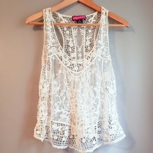 Cream Lacey over top